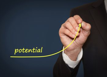 Businessman draw growing line symbolize growing potential